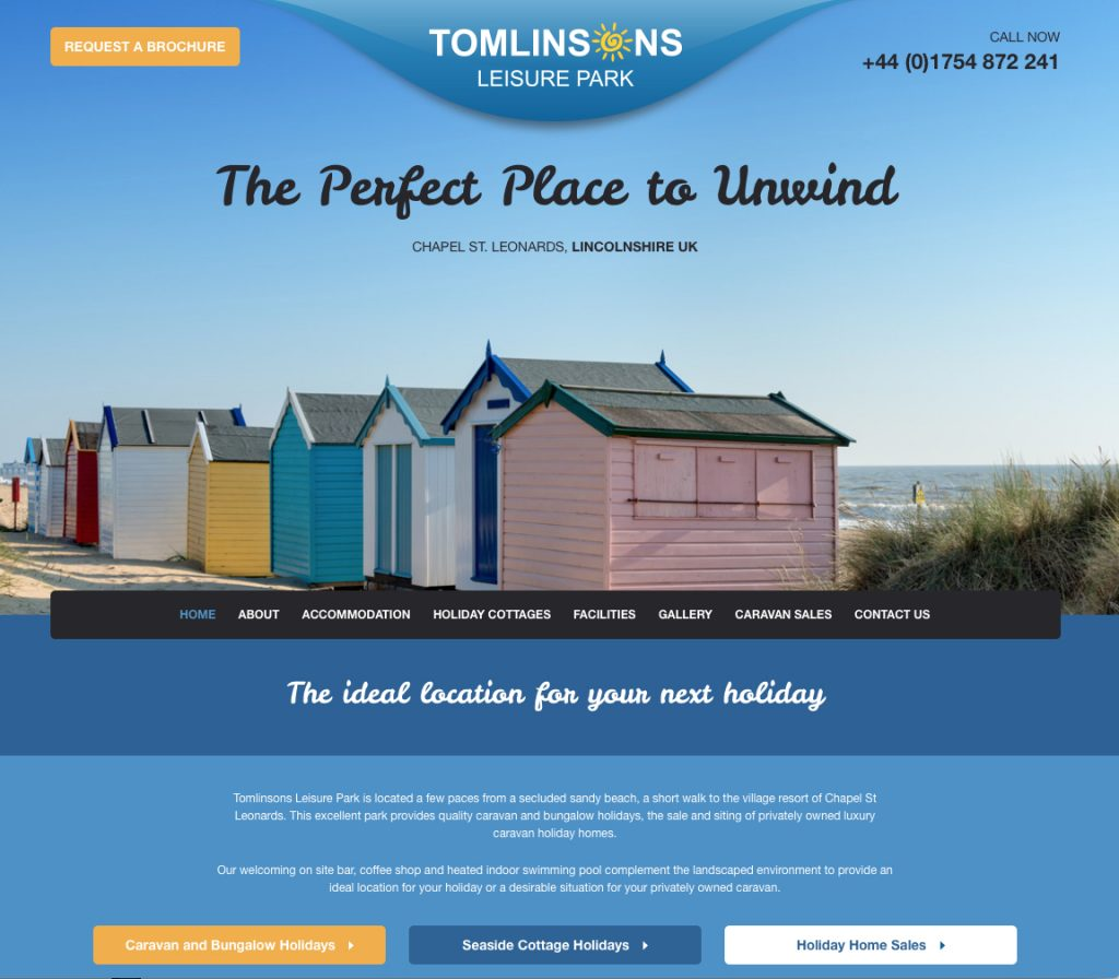 Image of Tomlinsons Leisure website home page