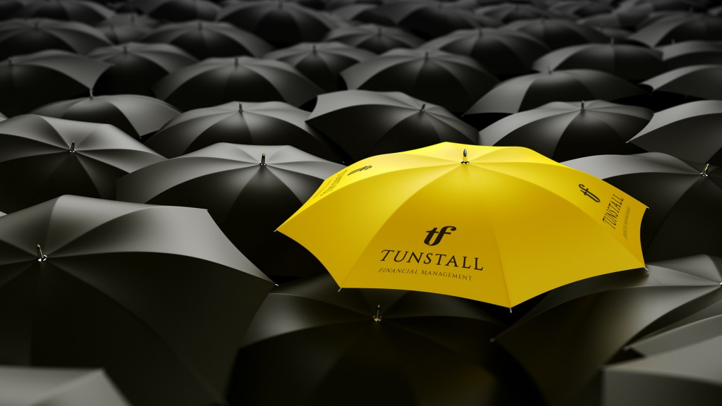 Yellow Umbrella Standing Out From Background Of Black Umbrellas Tunstall Financial Management